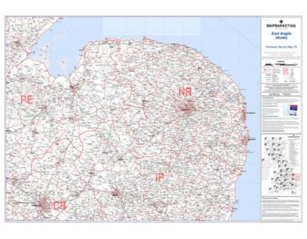 Postcode Sector Map 15 East Anglia (North)